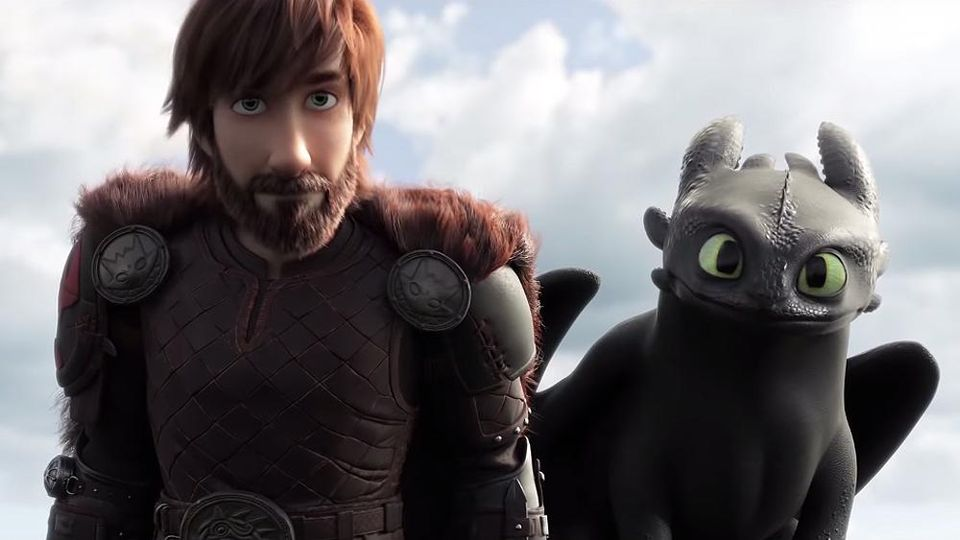 Older hiccup with beard and toothless behind him