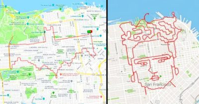 Man decides to draw artwork with a tracking route in San Francisco.