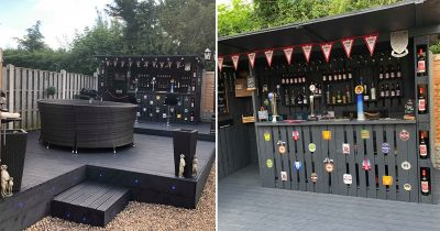 Man Builds An Amazing Bar In Back Garden Using Wooden Pallets For Just £90.