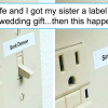 Guy Gifts His Sister A Label Maker As A Wedding Present, And She Is Cracking Everyone Up