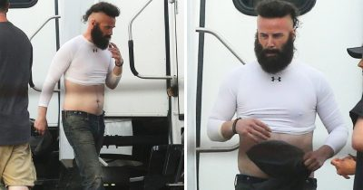 Keanu Reeves Appears Unrecognizable With Bushy Beard And Mohawk Hairdo on set Bill & Ted 3