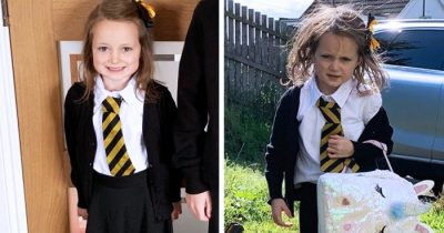 Hilarious pictures of Lucie before and after she got back from her first day at school.