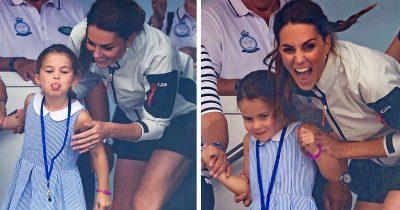 Princess Charlotte Sticks Out Tongue At Waving Crowds
