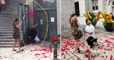 Best wingman dedicates himself to throwing petals for bestfriend's proposal