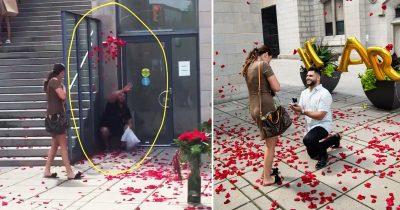Best wingman dedicates himself to throwing petals for bestfriend's proposal