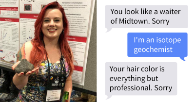 Engineer Calls A Scientist 'Unprofessional' Just Because She Rocks Red Hair And Tattoos, She Hits Him On Twitter.