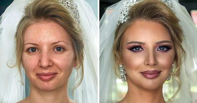 25 Brides' Pics Taken Before And After Their Wedding Makeup