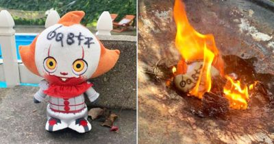 Woman burns Pennywise doll that floated down her property.
